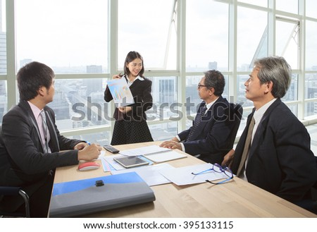 business people meeting in office meeting room with report chart  and discussion project solution