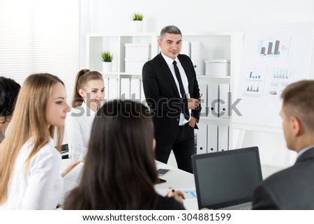Business people meeting in office to discuss project. Business meeting and teamwork concept - stock photo