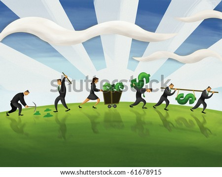 business people mining gold - stock photo