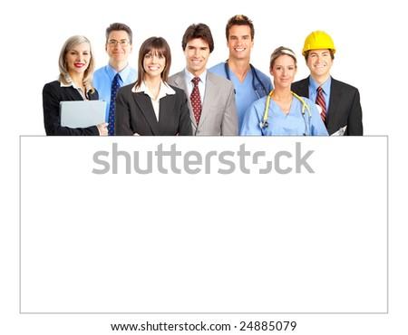 Business people, nurses, doctor, architect. Isolated over white background - stock photo
