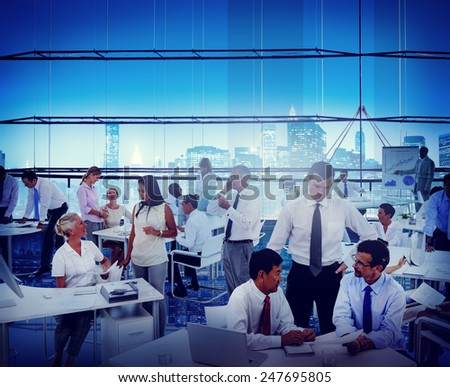 Business People Office Workplace Interaction Conversation Teamwork Concept - stock photo