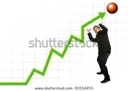 business people on a graph - stock photo