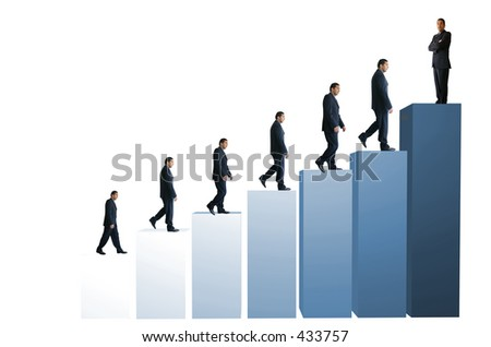 business people on a graph, representing success and growth - stock photo