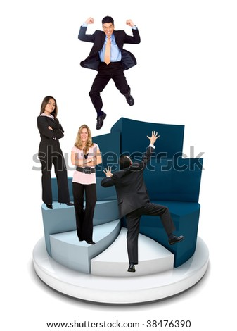 Business people on a pie chart isolated on white - stock photo