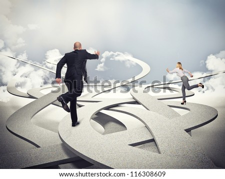 business people on 3d abstract way - stock photo