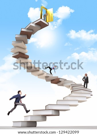 business people on 3d book stair - stock photo