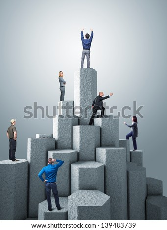 business people on 3d concrete tower