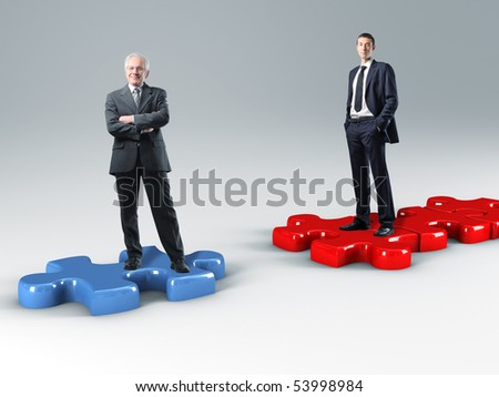 business people on 3d  jigsaw puzzle - stock photo