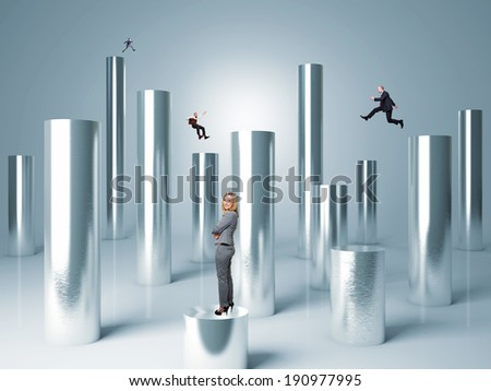 business people on metal abstract 3d cylinder - stock photo