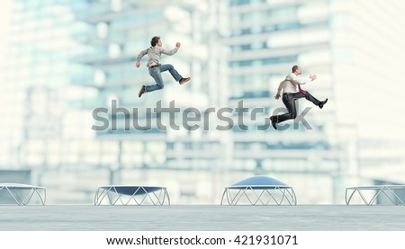 business people on trampoline 3d image - stock photo