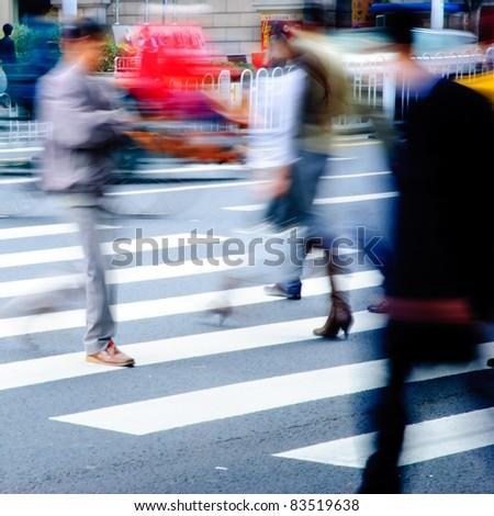 business people on zebra crossing street - stock photo