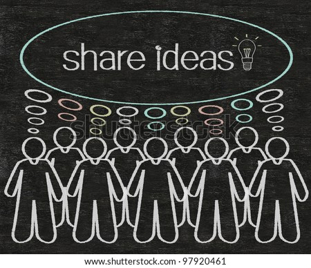 business people or employees share ideas on think bubble figure written with chalk on a blackboard background - stock photo