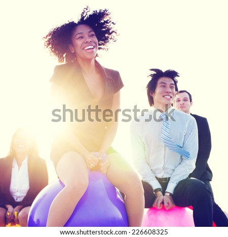 Business People Outdoors Cheerful Exercise Concept - stock photo