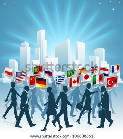 Business people passing each other at rush hour in the city speaking many different languages - stock photo