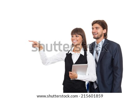 Business people point finger to side empty copy space, businesswomen businessmen happy smile isolated over white background - stock photo