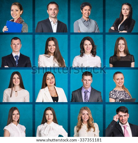 Business people portrait collage. Square shape. Blue background