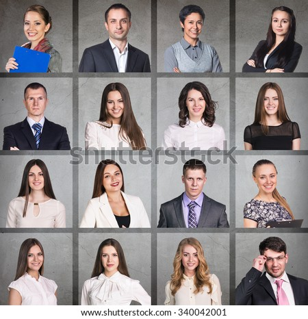 Business people portrait collage. Square shape. Gray background - stock photo