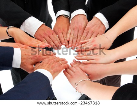 business people putting their hands together building a circle (concept for agreement) - stock photo