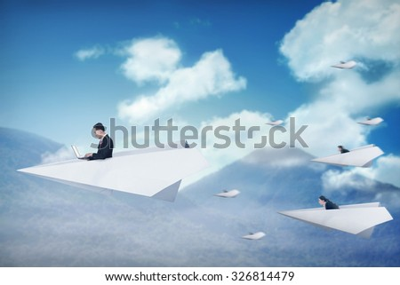 Business people race with paper plane going for better career. Business career concept