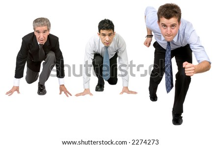 business people ready for competition over a white background - stock photo