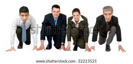 business people ready to race isolated over white - stock photo