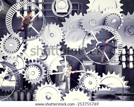 business people run in 3d hamster wheele - stock photo