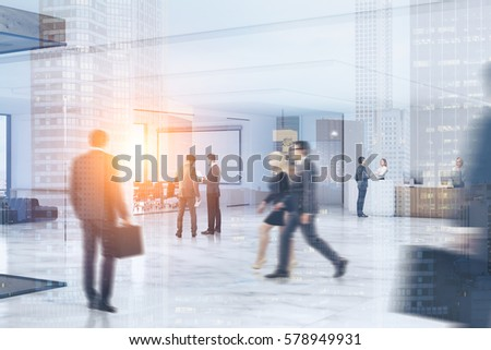 Business people rushing through an office hall with marble floor, a reception counter, a large whiteboard hanging in a conference room. 3d rendering. Toned image. Double exposure.