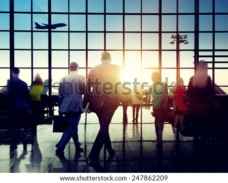 Business People Rushing Walking Plane Travel Concept - stock photo