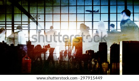 Business People Rushing Walking Plane Travel Concept - stock photo