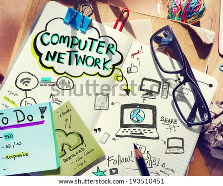 Business People's Desk with Computer Network Concept - stock photo