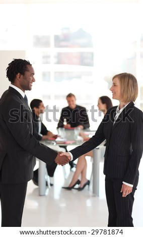 Business people shaking hands in agreement - stock photo