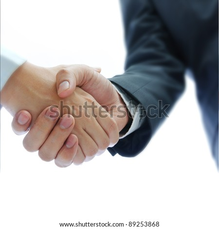 business people shaking hands isolated on white background - stock photo