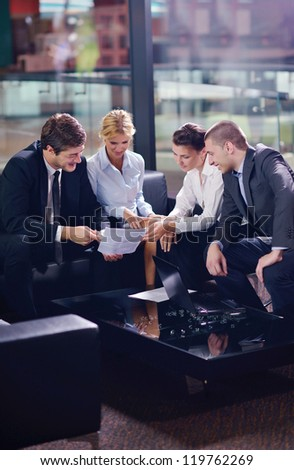 business people shaking hands make deal and sign contract - stock photo