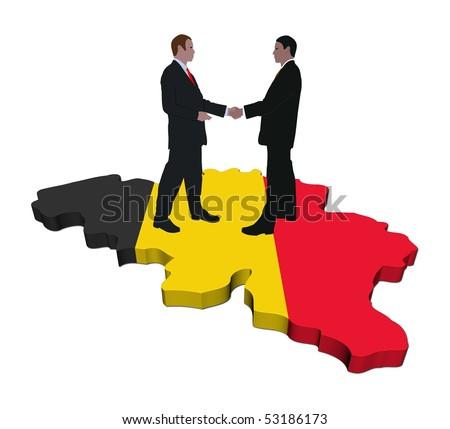 Business People Shaking Hands On Belgium Map Flag Illustration