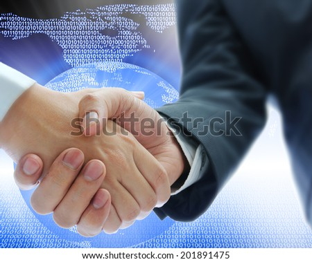 business people shaking hands on blue global business - stock photo
