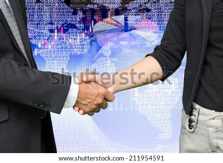 business people shaking hands on stock background - stock photo