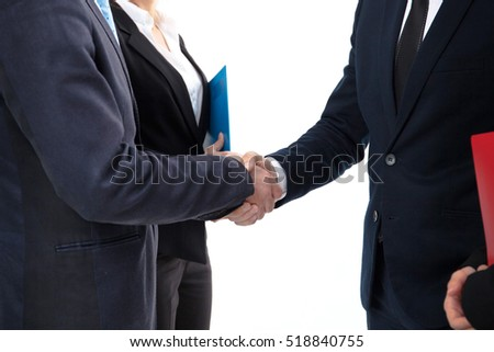 Business people shaking hands on white background, cooperation concept