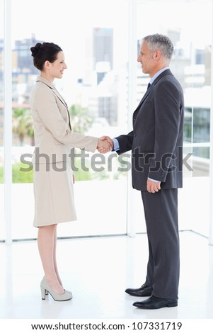 Business people shaking hands while smiling and looking at each other