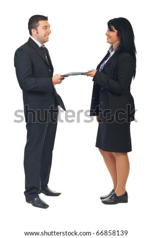 Business people sharing a business agreement isioolated on white background