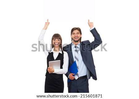 business people showing an empty copy space on bill card board, signboard, businesswoman with businessman smile, businesspeople isolated over white background - stock photo