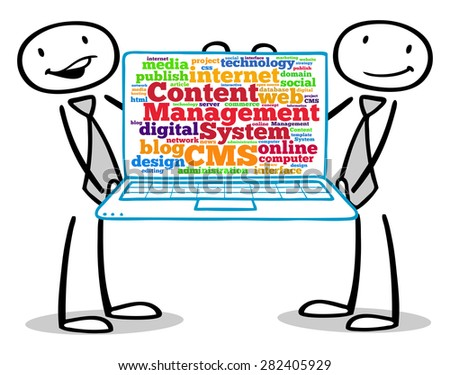 Business people showing CMS (Content Management System) concept on laptop screen - stock photo