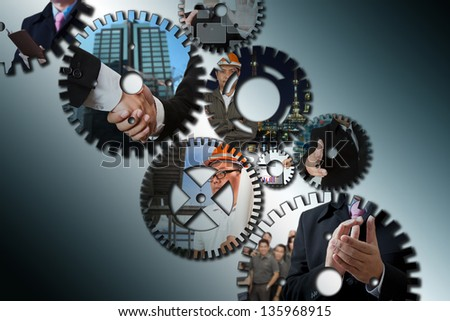 business people  showing team work - stock photo