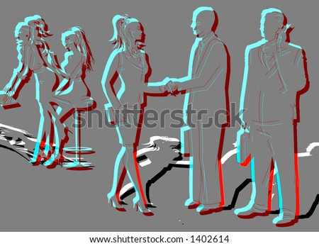 BUSINESS PEOPLE SILHOUETTE - stock photo