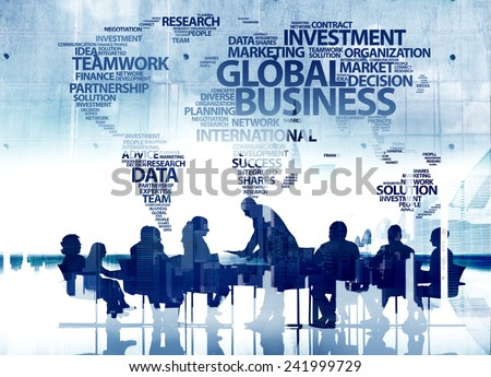 Business People Silhouette Conference Teamwork Global Business Concepts - stock photo