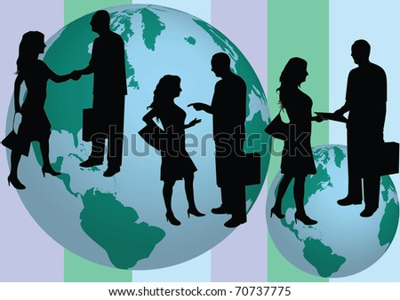 business people silhouette front of the globe illustration