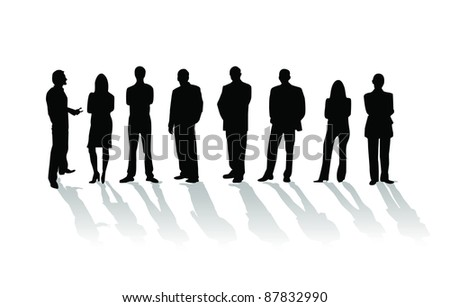 Business people silhouette on white background