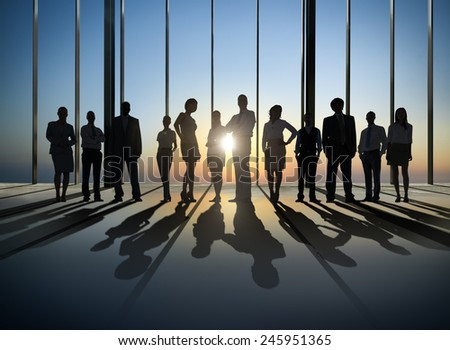 Business People Silhouette The Way Forward Vision Concepts - stock photo