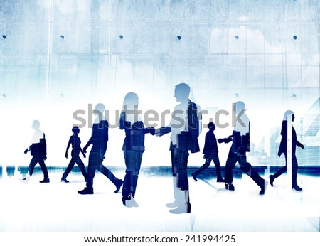 Business People Silhouette Working Agreement Teamwork Organization Concepts - stock photo