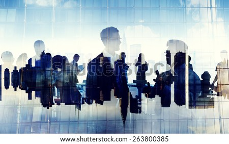 Business People Silhouette Working Cityscape Teamwork Talking Discussion - stock photo