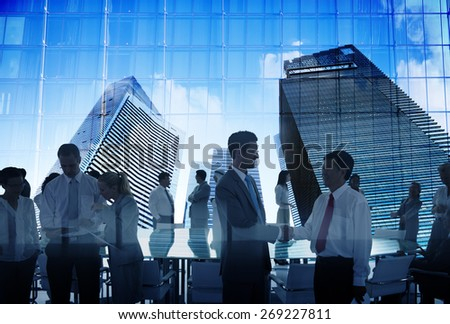 Business People Silhouette Working Meeting Conference Urban Scene - stock photo